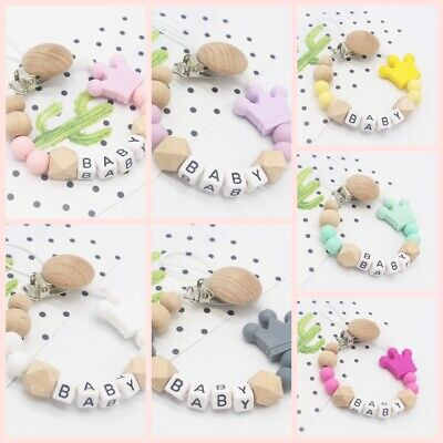 Silicone  Chew Toy Pacifier Chain Dummy Clips Silicone Crown Baby Teething
