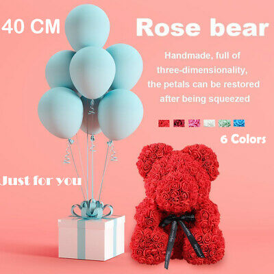 40cm Pink Rose Teddy Bear /w Heart Flower Gift For Mother's Day Birthday Wedding