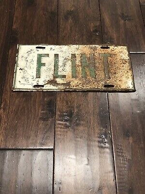 "MICHIGAN license plate -- front booster Vintage ""flint "" Wow"