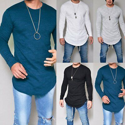 Men Slim Fit O Neck Long Sleeve Muscle TeeShirt Casual Fitted T-shirt Top Blouse