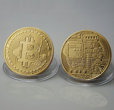 Gold Bitcoin Commemorative Round Collectors Coin Bit Coin Gold Plated Coin Gifts