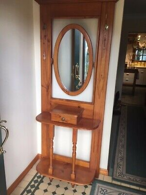 Solid timber colonial hall stand with drawer and mirror