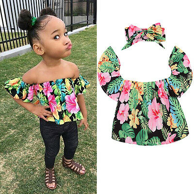 0-5Year Summer Baby Girls Off Shoulder Tops Kids Floral T Shirt +Headband Outfit
