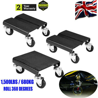 3Pc Tire Black Car Dolly Auto Repair Snowmobile Moving Dollies Set 1500lbs/680kg