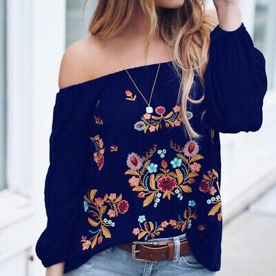 US Vintage Women Casual T-shirt Flower Top Long Sleeve Off Shoulder Tee Blouse