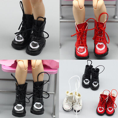1Pair PU Leathers 1/8 Dolls Boots Shoes for 1/6 Dolls Blythe Licca Doll  VQ