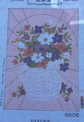 Printed Mono Canvas (Long Stitch) - Flowers in  Pot - LUC