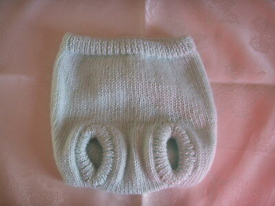 NEW Made in Uk Handmade Knitted 0-3 mths Nappy Cover Mint Green colour Cute