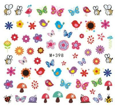 Nail Art Stickers Water Decals Transfers Cartoon Bird Mushroom Bee (M+398)