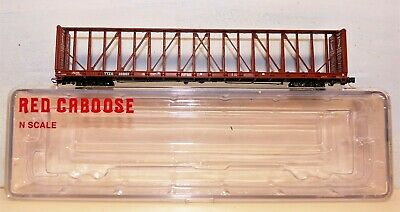 N Scale Red Caboose TTZX centrebeam wagon. New condition.