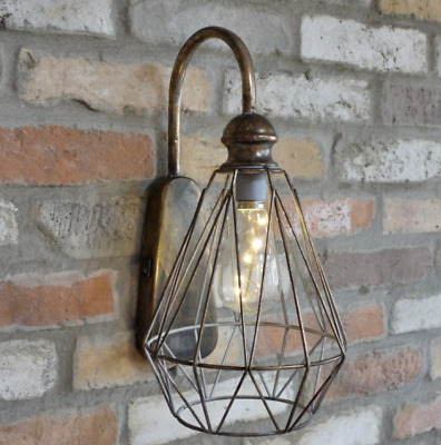 Antique Gold Large Battery Operated Industrial Metal Wall Lantern Light