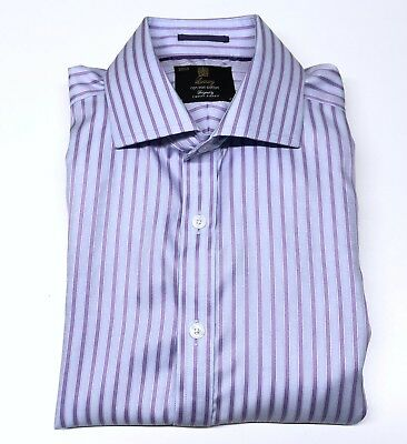 Mens M&S Timothy Everest Shirt 16 Non Iron Regular Fit Lilac Purple Double Cuff