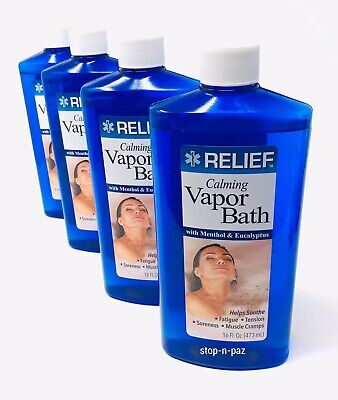 Relief Calming Vapor Bath Soothing Soak with Menthol & Eucalyptus 16 oz - 4 Pack