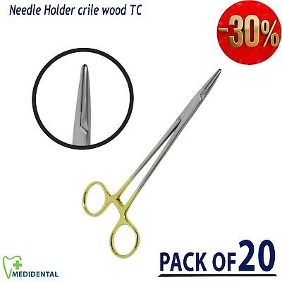 TC Crile Wood Needle holder for Sutures Holding Surgical Instruments pack of 20