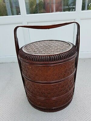 Rare Large Antique Chinese Lacquered Wedding Basket Woven  Bamboo 3 Tier