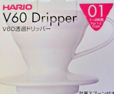 Hario VDC-01W 1-Piece Ceramic V60 Coffee Dripper White Size 01