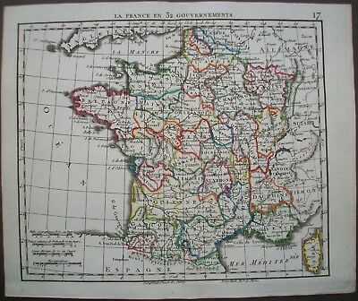 1816 France 32 Provinces Antique Map Herisson French Engraving by Glot