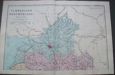 1890 Cumberland & Westmorland County Antique Map North Original Bacon