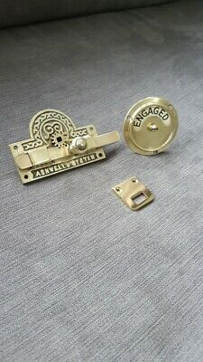 Antique Ashwells Bathroom Toilet Brass Vacant Engaged Door Lock Wc Lavatory Old