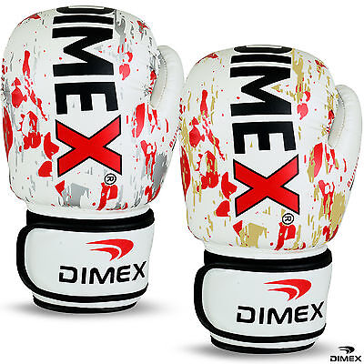 Boxing Gloves Sparring Glove MMA Punch Bag Training Mitts White Sizes 12 to 16oz