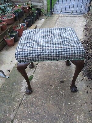 Lovely Antique Victorian (?) Dressing Table Foot Stool Claw & Ball Cabriole Legs