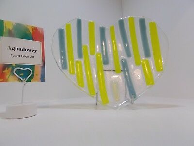 Fused Glass Art, Valentines Day, Irish, Lime Green, Heart Concave dish/bowl,
