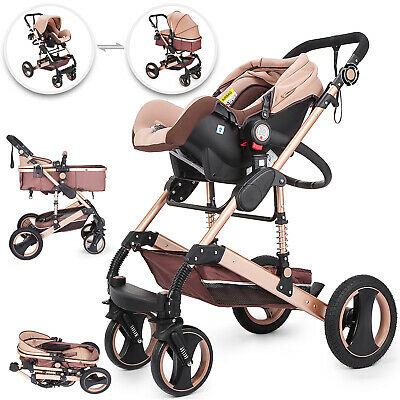 3 In1 Foldable Baby Kids Travel Stroller Newborn Infant Pushchair Buggy Gold
