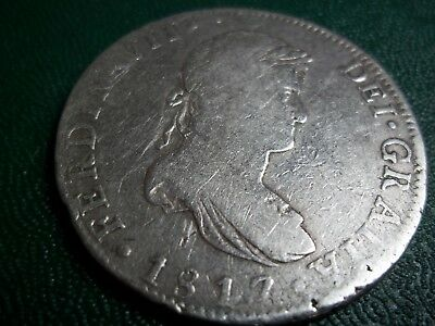 Peru Spanish Colonial Ferdinand Vii 1817 8 Reales Silver Coin,