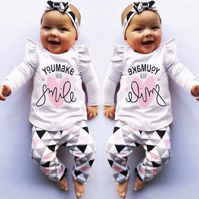 UK 2PC Newborn Toddler Infant Baby Girls Print T Shirt Tops Pants Outfits Set CH