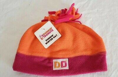 78e814dda01 Dunkin Donuts Winter Fleece Hat Beanie Orange Pink 2014 One Size Fits Most