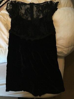 M&S Limited Edition Black Lace And Velvet Playsuit Uk 10