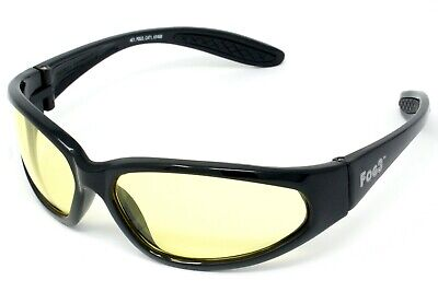 FOG3 Yellow Tinted Antifog Motorcycle Glasses/Low Light Biker Sunglasses + Pouch