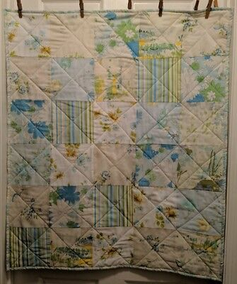 Handmade Baby Girls Quilt Blue Floral Vintage 33x38