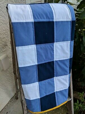 Handmade Baby Quilt Unisex Giant Gingham Blue Surfboards 38x38