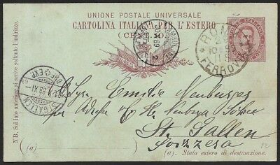 (111cents) Italy 1889 Postal Card ROMA to ST.GALLEN