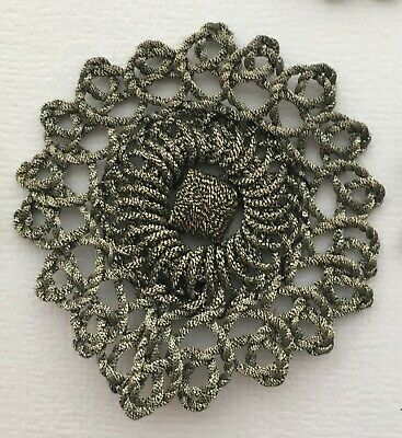 Vin. Silver Metallic Rosette Appliques Round Scalloped Edges Nice Patina French