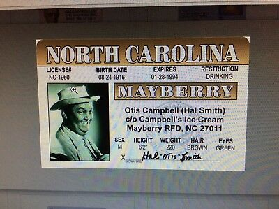 Andy Griffith Show Otis Campbell Hal Smith fake ID i.d.  card Drivers License
