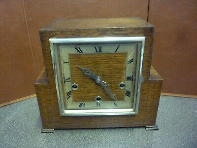 Rare Art Deco Enfield Oak Mantle Clock With Westminster+Whittington Chimes FWO