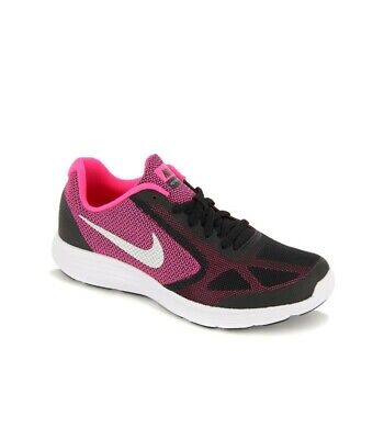 2b989a4aa46e Junior Girls Nike Revolution 3 GS Pink Black White 819416 001 Size UK 4