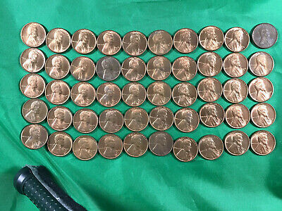 1941 D Uncirculated Lincoln Wheat Pennies 50 Pennies Ungraded