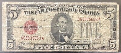 USA 5 Dollar 1928 E United States Note Red Seal Banknote Schein Five #11300