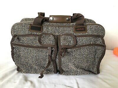 cdbcb17694 Vintage Adolfo Brown Tweed Duffle Massager Carry on Bag H13xW18xD6 Excellent