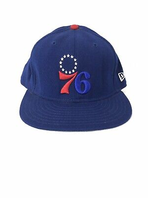3b4f41c10f9 Vintage Blue New Era Philadelphia 76ers Authentic NBA Fitted Hat Pre-Owned  7 3