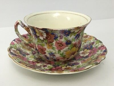 1920s Vintage Royal Crown Pasadena Melody Chintz Fine Bone China Teacup & Saucer