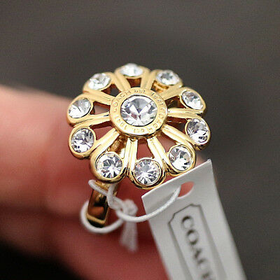 NWT COACH Tony Duquette Pave Crystal Daisy Flower Floral SZ 6 Gold RING NEW