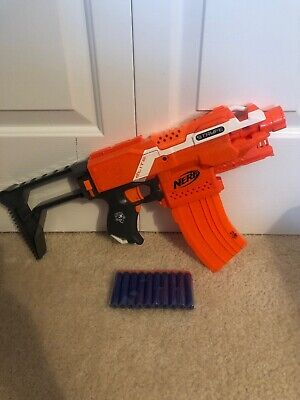 NERF N-Strike Elite STRYFE Dart Gun Orange Banana Clip Stock Darts Batteries