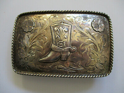vintage Boot Rossettes Sterling Mexico western ranching cowboy rodeo belt buckle