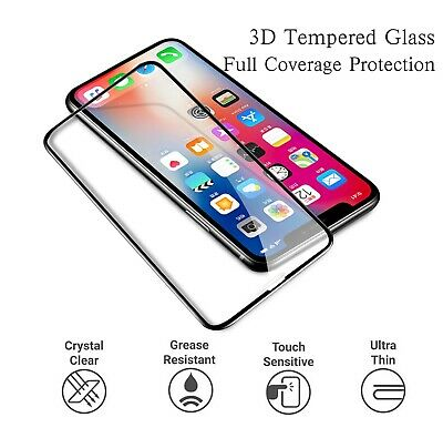 Full Cover Tempered Glass Screen Protector 3D Curved Fits For iPhone Xs Max Xr