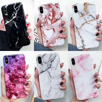 For iPhone 8 Plus Marble Case With Holder Stand Shockproof Soft TPU Bling Cover