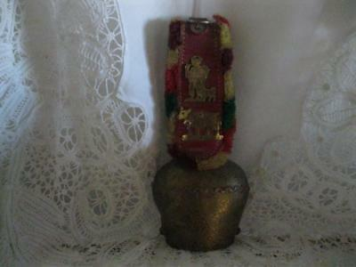 Nice Old Vintage Large Swiss Brass Cow Bell W/ Leather Strap & Fringe